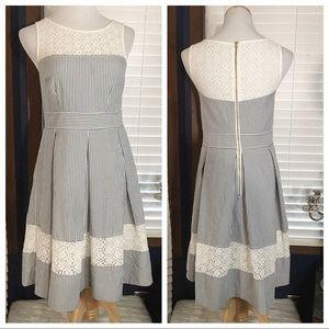 London Times Lace & Seersucker Fit & Flare Dress 6